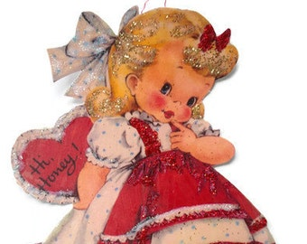 Valentine's Day Ornament Decoration, Vintage Card Imagery Red Glitter Sparkles, Retro Love Heart Girl Recycled Handmade OOAK Ephemera Gift