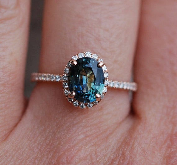 Green sapphire engagement ring. Peacock green sapphire 3ct oval halo diamond  ring 14k Rose gold. Engagenet rings  Eidelprecious.