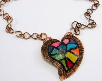 Colored Pencil on Copper  Rainbow Mosiac Heart Pendant and Handmade Chain Necklace