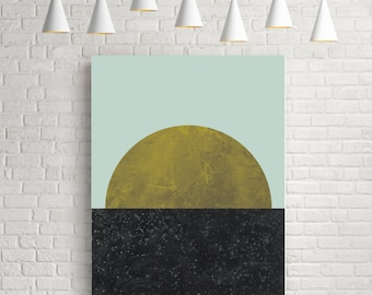 Fine art prints, minimalist, moon print, wall art prints, wall art poster, art, home decor, gold, black, yellow, circle print, Last quarter