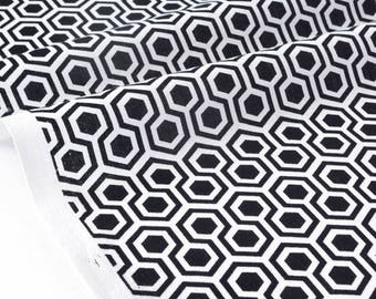 Fabric pattern American geometric black white x 50cm
