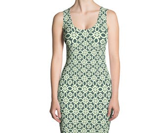 Green pattern,Sublimation Cut & Sew Dress,Prinful, Hand Sew, USA