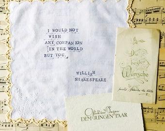 Vintage wedding, handkerchief, happy tears, Shakespeare, love quote, hand-stamped, typewriter look, wedding gift bride, groom , boho