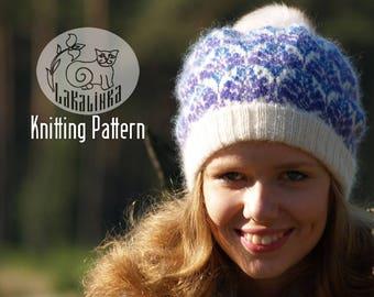 Knitting pattern PDF- hat - Women - female - teens - stranded colorwork - festive ornaments - flowers - English pattern