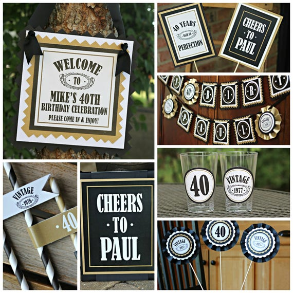 40TH BIRTHDAY PARTY Decorations 40th Party Banner 40th Party