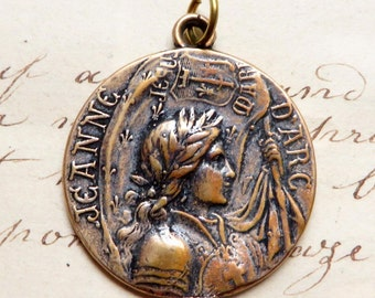 St Joan of Arc Battle Flag Medal - Patron of strong women - Antique Reproduction