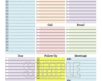 Work Day Organizer - planner page, work planner, printable planner, to do list, planner, checklist, daily, weekly - EDITABLE