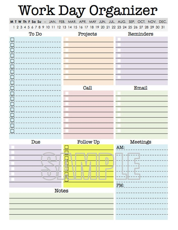Work day organizer planner page work planner printable for To do planner online