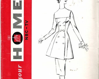 """Vintage 1950's Mail Order Home NBC-TV Pattern No. 14 Dress Tunic Over Blouse Sewing Pattern Size 14 Bust 32"""" UNCUT"""