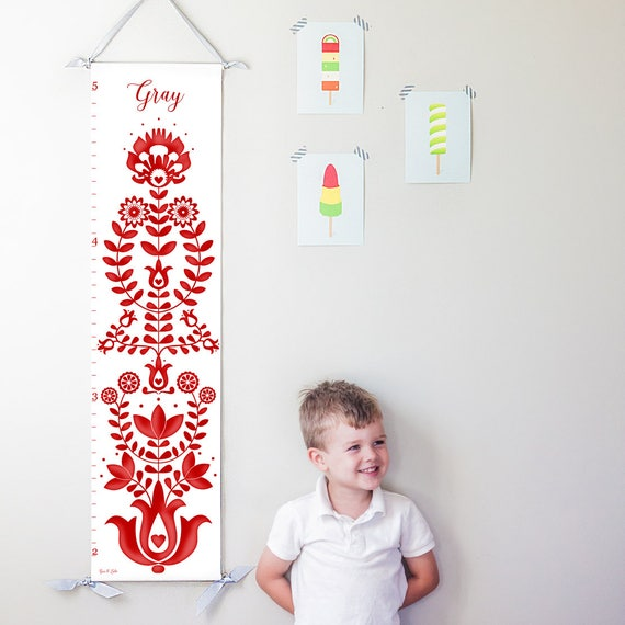 Personalized red folk art canvas growth chart