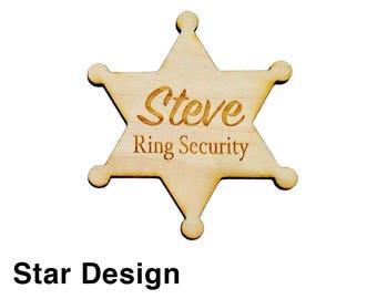 Ring Security, Ring Bear Gift, Ring Bearer Security Badge, Personalized Ring Bearer Badge, Wedding Gift, Engraved Wood Badge Designs