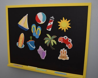 Magnetic Chalkboard WITH Take me to the Beach Magnets