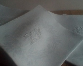 Beautiful set of 12 antique French Damask embroidered serviettes