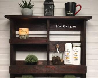 Bathroom Shelf | Bathroom Storage | Rustic Bath Towel Rack | Bathroom Organizer | Rustic Wooden Bathroom Decor | Bathroom Shelf