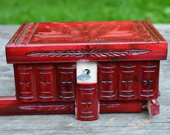 HOME DECOR, Decorative box, Carved wooden box with key, Trinket box, Unique gifts, Wood Jewelry box, Secret compartment box Mystery box wood