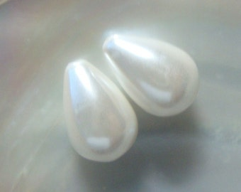 3, 5, 10 pairs, 8x10mm, Lovely White South Sea Shell Pearl Teardrop Briolette, Half Drille Teardop Briolette, SP002-w