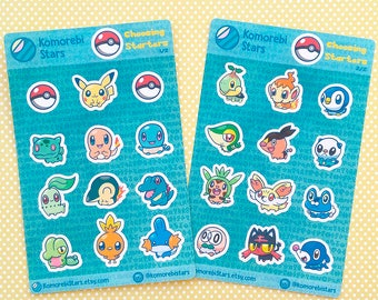 All Pokemon Starters Stickers - for planner or decorate - Chibi pikachu, charmander, squirtle, bulbasaur, rowlet, litten, popplio, ...