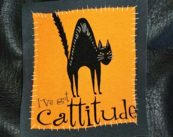 Cattitude canvas patch