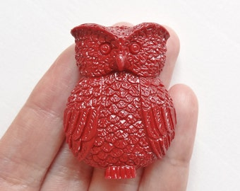 Reconstituted Red Coral Owl Pendant  Highly detailed and cute H4938