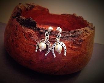 Horseshoe Pearl Dangle Earrings