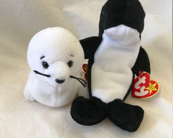 """1996 Beanie Babies Seamore and Waves """"Frenemies"""" Set of 2"""