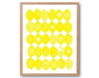 Lemons Art Print, Kitchen decor, Vegetable Print, Fruit Print, Botanical Illustration, Botanical Print