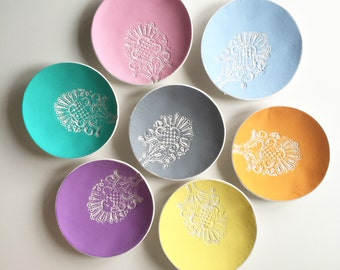 Lace Print Ring Dish,  Icecream colours, lace print, clay jewellery dish bowl, trinket bowl, catchall,