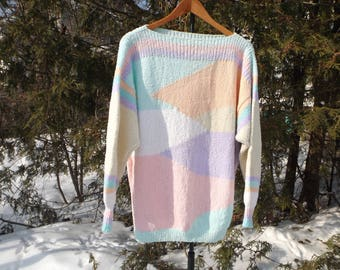 Pastel Sweater Colorblock Vintage Pullover Soft Pastel Goth Vintage 90s Sweater Slouchy Sweater Pastel goth Clothing Size Large Aesthetic