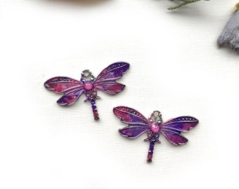 Purple Pink Dragonfly Charm, Small Dragonfly Charms, Artisan Dragonfly, Painted Dragonflies, Dragonfly Earrings, Dry Gulch, 1 Pair, Sigal