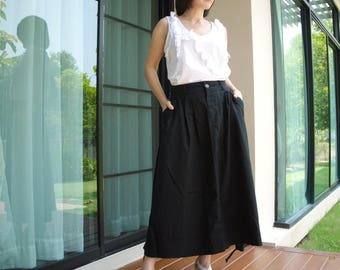 Pleated Front Flare Black Linen Mix Cotton Skirt With 2 Pockets