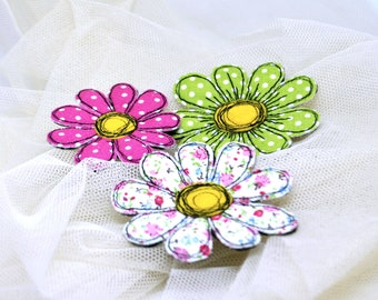 Fabric daisy brooch Set 3in1 Flowers calico Textile art single flower pin Fabric flower jewelry Handmade floral brooch Gift idea for women