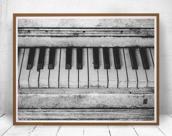 Piano Print, Piano Keys Photo, Piano Poster, Black and White, Wall Decoration, Home Decor, Classic Print, Classic Poster, Original Wall Art