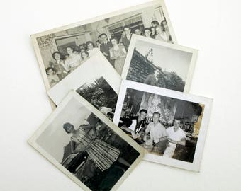 Collection of 5 original Black and White Monochrome Photographs of People from the 1950s