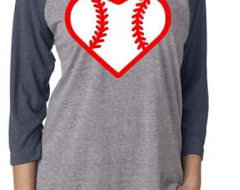 Baseball mom shirt, Baseball heart raglan, mom shirt, baseball mom, sister