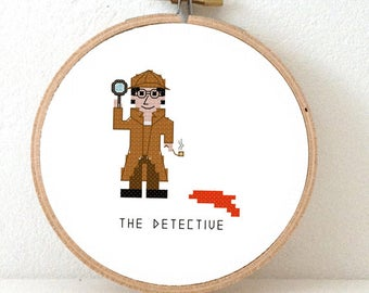 Cross Stitch Kit Detective. Gift for male dectective. Sherlock holmes cross stitch. Counted cross stitch kit including embroidery hoop.