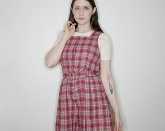 90s red and white wool plaid button up sleeveless romper size small