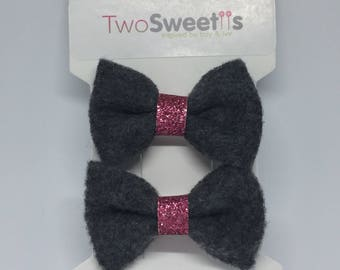 Classic Pink and Gray Felt Bow (Set of two)