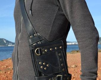leather messenger bag/ steampunk utility leather bag