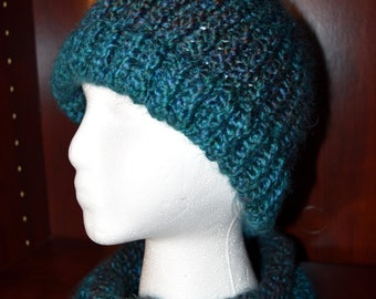 Teal Hat, Women's Knit Hat and Cowl Set, Women's Hat, Women's Gift, Gift for her, Hat Set, Winter Hat, Knit Accessories