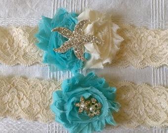 Bridal Garter Set - Starfish Aqua and Ivory - Island Wedding, Beach Wedding - Tropical, Seaside - A Bijoux Bridal Chicago Signature Design
