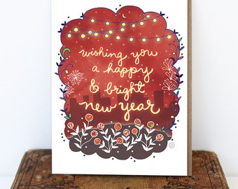Bright Happy New Year Card - Holiday card, New years day, starry, city greeting card