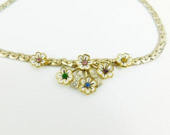 Vintage Coro  Rhinestone Enamel Flower Choker Necklace, multicolor rhinestone