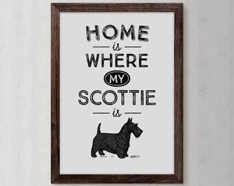 Scottish Terrier, Terrier Dog,  Scottish Terrier Art, Scottie, Terrier Dog Decor, Terrier Gift, Terrier Print, Scottish Dog, Dog Art