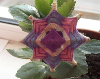 Knitted pendant, mandala, Yoga Jewelry, Mandala Art Necklace