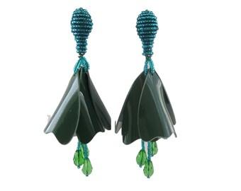 Holiday Green Tiered Tulip Beaded Tassel Earrings