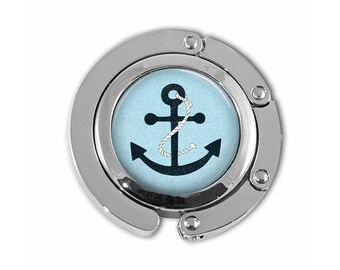 Blue Ship Anchor Nautical Art Purse Hook Purse Hanger Handbag Holder Umbrella Hanger