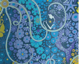 Alison Glass, Diving Board, Mermaid Pearl Design - for Andover Fabric 8634 B - Blue Lagoon - Priced by the Half Yard