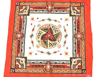 80s Southwestern Bandanna Bandana Handkerchief Geometric Red Black Bird Thunder