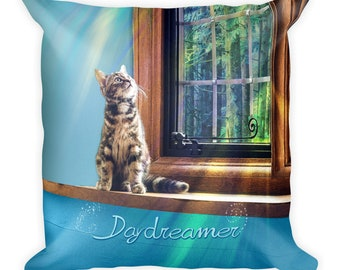 Daydreamer Kitten Throw Pillow