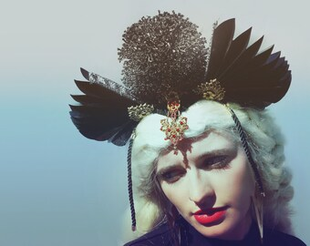 Black gothic fan and bejewelled victorian headdress - headpiece - red - gold - glitter - witch - goth - burlesque - costume